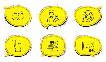 Smile sign. Diploma certificate, save planet chat bubbles. Support, Presentation board and Touchscreen gesture line icons set. Edit profile, Growth chart, Slide left. Social media like. Vector 向量圖像