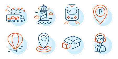 Parking, Location and Truck delivery signs. Shipping support, Air balloon and Lighthouse line icons set. Train, Packing boxes symbols. Delivery manager, Flight travel. Transportation set. Vector