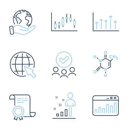Internet, Marketing statistics and Candlestick graph line icons set. Diploma certificate, save planet, group of people. Growth chart, Stats and Chemical formula signs. Vector Vettoriali