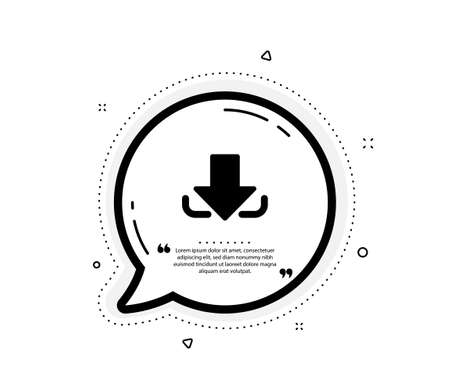 Download Arrow icon. Quote speech bubble. Down arrowhead symbol. Direction or pointer sign. Quotation marks. Classic download icon. Vector
