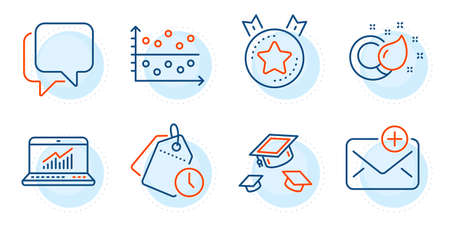 Talk bubble, Time management and Throw hats signs. New mail, Ranking star and Dot plot line icons set. Online statistics, Paint brush symbols. Add e-mail, Winner medal. Education set. Vector 向量圖像