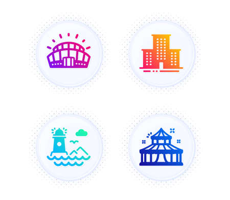 Sports stadium, Lighthouse and University campus icons simple set. Button with halftone dots. Circus sign. Championship arena, Navigation beacon, Town building. Attraction park. Buildings set. Vector