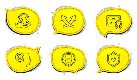 Writer sign. Diploma certificate, save planet chat bubbles. Intersection arrows, Medical shield and Face detect line icons set. Exchange, Medicine protection, Select target. Copyrighter. Vector