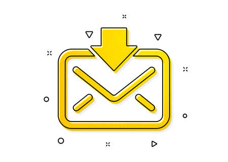 Incoming Messages correspondence sign. Mail download icon. E-mail symbol. Yellow circles pattern. Classic incoming Mail icon. Geometric elements. Vector 向量圖像