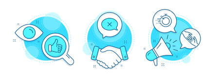 Reject, Helping hand and Like hand line icons set. Handshake deal, research and promotion complex icons. Fast recovery sign. Delete message, Give gesture, Thumbs up. Backup timer. Business set. Vector