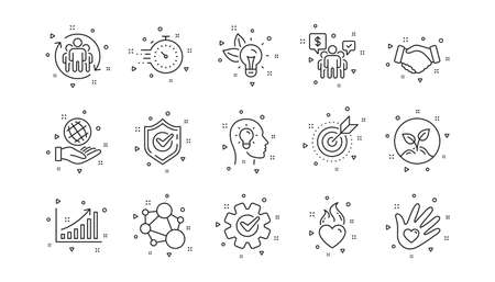 Integrity, Target purpose and Strategy. Core values line icons. Trust handshake, social responsibility, commitment goal icons. Linear set. Geometric elements. Quality signs set. Vector Vecteurs