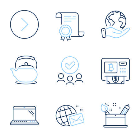 Bitcoin atm, Laptop and Teapot line icons set. Diploma certificate, save planet, group of people. World mail, Creativity concept and Forward signs. Cryptocurrency change, Computer, Tea kettle. Vector
