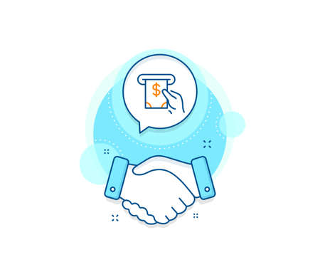 Banking currency sign. Handshake deal complex icon. Cash money line icon. Dollar or USD symbol. ATM service. Agreement shaking hands banner. ATM service sign. Vector