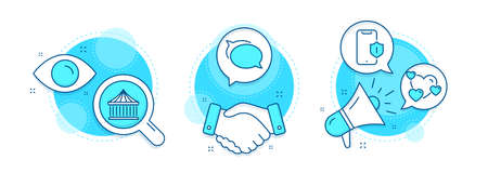 Smartphone protection, Talk bubble and Carousels line icons set. Handshake deal, research and promotion complex icons. Heart sign. Phone, Chat message, Attraction park. Love rating. Vector