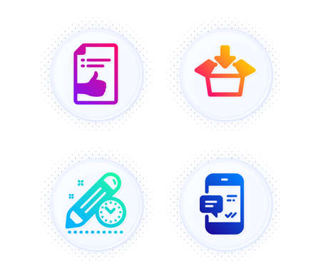 Approved document, Get box and Project deadline icons simple set. Button with halftone dots. Smartphone notification sign. Like symbol, Send package, Time management. Chat message. Vector