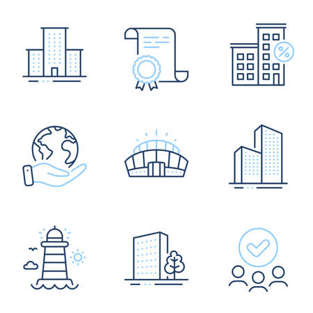 University campus, Lighthouse and Skyscraper buildings line icons set. Diploma certificate, save planet, group of people. Buildings, Loan house and Arena stadium signs. Vector Illustration