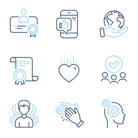 Group, Thoughts and Clapping hands line icons set. Diploma certificate, save planet, group of people. Certificate, Mobile like and Heart signs. Headhunting service, Business work, Clap. Vector 向量圖像