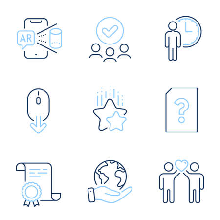 Unknown file, Scroll down and Augmented reality line icons set. Diploma certificate, save planet, group of people. Friends couple, Waiting and Ranking stars signs. Vector