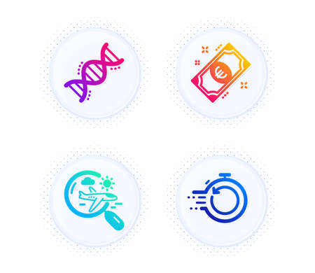 Euro money, Chemistry dna and Search flight icons simple set. Button with halftone dots. Fast recovery sign. Cash, Chemical formula, Airplane trip. Backup timer. Business set. Vector Vector Illustratie