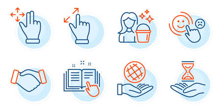 Safe planet, Move gesture and Time hourglass signs. Customer satisfaction, Technical documentation and Handshake line icons set. Cleaning, Touchscreen gesture symbols. Happy smile, Manual. Vector