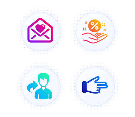 Love letter, Loan percent and Share icons simple set. Button with halftone dots. Click hand sign. Heart, Discount hand, Male user. Direction finger. People set. Gradient flat love letter icon. Vector