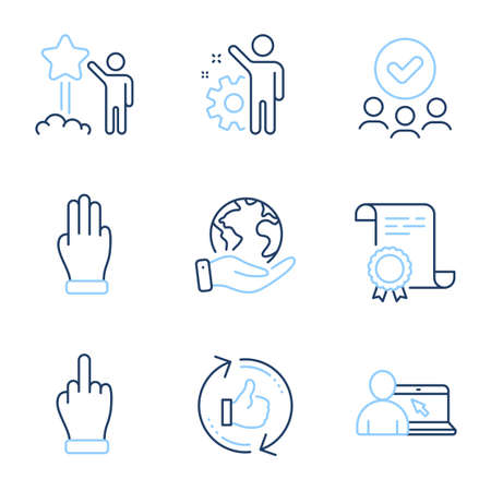 Three fingers, Refresh like and Star line icons set. Diploma certificate, save planet, group of people. Employee, Online education and Middle finger signs. Vector 向量圖像