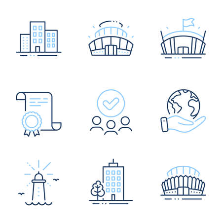 Sports stadium, Buildings and Lighthouse line icons set. Diploma certificate, save planet, group of people. Arena stadium, Arena and Skyscraper buildings signs. Vector