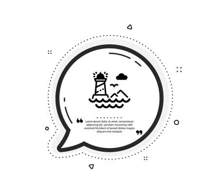 Lighthouse icon. Quote speech bubble. Beacon tower sign. Searchlight building symbol. Quotation marks. Classic lighthouse icon. Vector