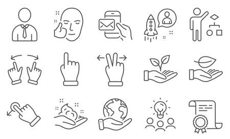 Set of People icons, such as Touchscreen gesture, Messenger mail. Diploma, ideas, save planet. Helping hand, Drag drop, Skin care. Healthy face, Leaf, Human. Click hand, Startup, Move gesture. Vector 向量圖像
