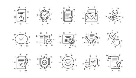 Checklist, Certificate and Award medal. Approve line icons. Thumbs up certified document linear icon set. Geometric elements. Quality signs set. Vector