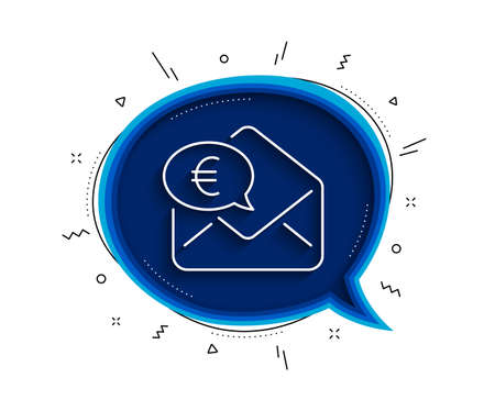 Euro via mail line icon. Chat bubble with shadow. Send or receive money sign. Thin line euro money icon. Vector