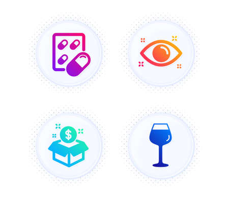 Capsule pill, Health eye and Post package icons simple set. Button with halftone dots. Bordeaux glass sign. Medicine drugs, Optometry, Postbox. Wine glass. Business set. Vector 向量圖像