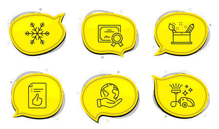 Vacuum cleaner sign. Diploma certificate, save planet chat bubbles. Approved document, Creativity concept and Air conditioning line icons set. Like symbol, Graphic art, Snowflake. Vacuum-clean. Vector 向量圖像