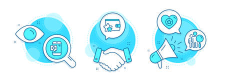 Search people, Heart and Medical phone line icons set. Handshake deal, research and promotion complex icons. Loyalty program sign. Find employee, Star rating, Mobile medicine. Bonus wallet. Vector 向量圖像