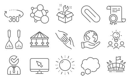 Set of Business icons, such as Carousels, Paper clip. Diploma, ideas, save planet. Cooking cutlery, Integrity, Vacancy. Helping hand, Sun energy, Spanner. Internet, Talk bubble, Arena. Vector Ilustrace