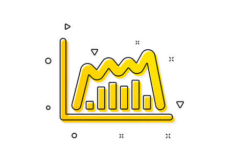 Economic graph sign. Investment chart icon. Stock exchange symbol. Business finance. Yellow circles pattern. Classic infographic graph icon. Geometric elements. Vector