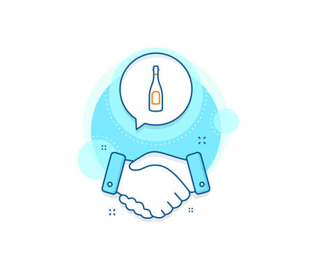Anniversary alcohol sign. Handshake deal complex icon. Champagne bottle line icon. Celebration event drink. Agreement shaking hands banner. Champagne sign. Vector