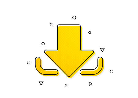 Down arrowhead symbol. Download Arrow icon. Direction or pointer sign. Yellow circles pattern. Classic download icon. Geometric elements. Vector