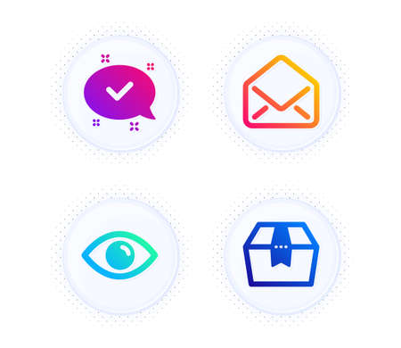 Approved, Eye and Mail icons simple set. Button with halftone dots. Package box sign. Chat message, View or vision, E-mail. Delivery goods. Technology set. Gradient flat approved icon. Vector 向量圖像