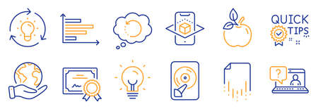 Set of Science icons, such as Hdd, Augmented reality. Certificate, save planet. Energy, Recovery data, Faq. Eco food, Quick tips, Horizontal chart. Recovery file, Idea line icons. Vector