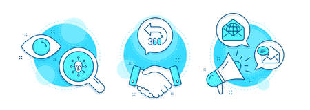 Web mail, Face biometrics and New mail line icons set. Handshake deal, research and promotion complex icons. 360 degrees sign. World communication, Facial recognition, Received e-mail. Vector 向量圖像