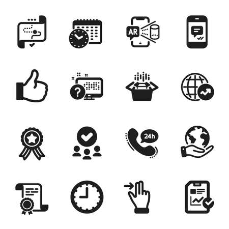 Set of Technology icons, such as Calendar time, Packing boxes. Certificate, approved group, save planet. 24h service, Augmented reality, World statistics. Vector 向量圖像