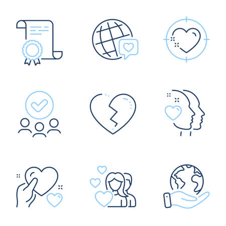 Hold heart, Couple and World brand line icons set. Diploma certificate, save planet, group of people. Broken heart sign. Care love, Valentines day, Love. Love set. Line icon set. Vector