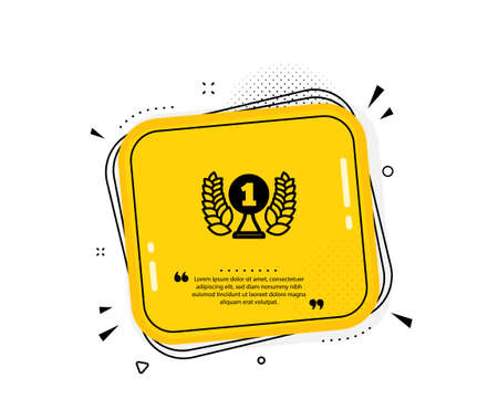 Laureate award icon. Quote speech bubble. Winner prize symbol. Prize with Laurel wreath sign. Quotation marks. Classic laureate award icon. Vector