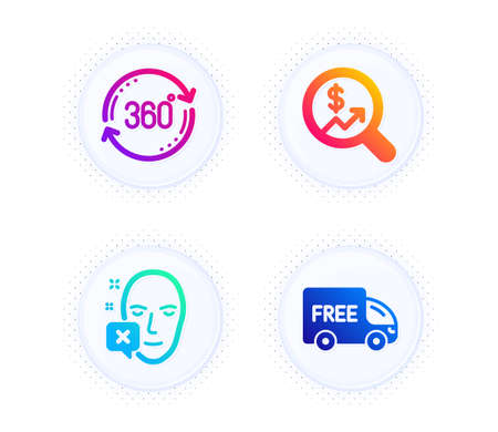 Currency audit, Full rotation and Face declined icons simple set. Button with halftone dots. Free delivery sign. Money chart, 360 degree, Identification error. Shopping truck. Business set. Vector
