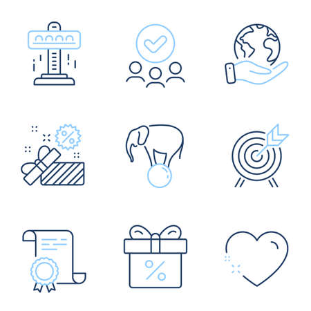 Attraction, Archery and Sale line icons set. Diploma certificate, save planet, group of people. Discount offer, Elephant on ball and Heart signs. Free fall, Attraction park, Gift box. Vector 向量圖像
