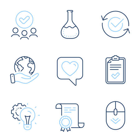 Chemistry lab, Idea gear and Heart line icons set. Diploma certificate, save planet, group of people. Checklist, Scroll down and Approved signs. Laboratory, Technology process, Like rating. Vector