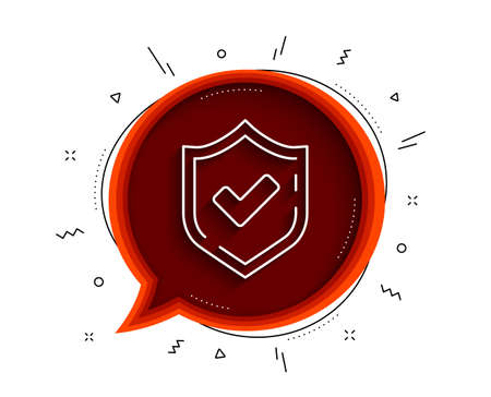 Check mark line icon. Chat bubble with shadow. Accepted or Approve sign. Tick shield symbol. Thin line confirmed icon. Vector