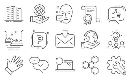 Set of Business icons, such as Incoming mail, Face accepted. Diploma, ideas, save planet. Chemical formula, Bumper cars, Approved. Recovery laptop, Buildings, Safe planet. Like, Hand, Parking. Vector