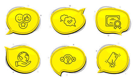 Quiz test sign. Diploma certificate, save planet chat bubbles. Like, Approved and Smartphone broken line icons set. Social media likes, Comic message, Phone crack. Select answer. Vector 向量圖像