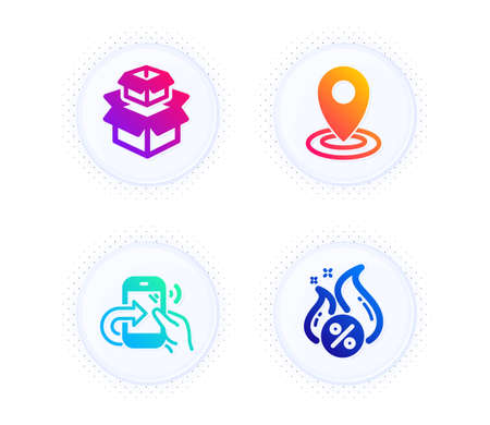 Packing boxes, Location and Share call icons simple set. Button with halftone dots. Hot loan sign. Delivery box, Map pointer, Phone support. Discount offer. Technology set. Vector