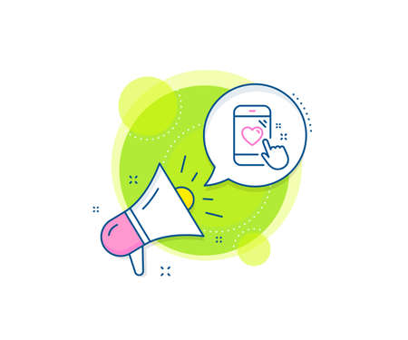 Feedback phone sign. Megaphone promotion complex icon. Heart rating line icon. Customer satisfaction symbol. Business marketing banner. Heart rating sign. Vector 向量圖像