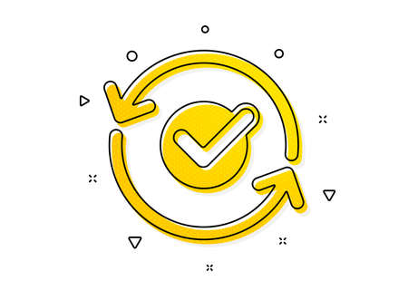 Accepted or confirmed sign. Approved icon. Refresh symbol. Yellow circles pattern. Classic approved icon. Geometric elements. Vector