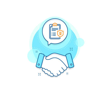 Privacy policy document sign. Handshake deal complex icon. Checklist line icon. Agreement shaking hands banner. Privacy policy sign. Vector Ilustrace