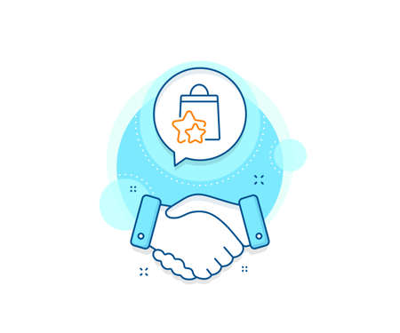 Bonus bags. Handshake deal complex icon. Loyalty points line icon. Discount program symbol. Agreement shaking hands banner. Loyalty points sign. Vector